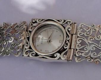 Jewelry Watch, Original Handmade Fine Silver Filigree Bracelet Watch, Bracelet Watch, Israel Jewelry (s w3289)