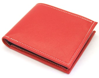 Red leather wallet with black inner, pop coin pocket, ID window, card slots and notes pocket