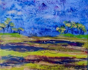 12 x 12 Modern Impressionist Original Encaustic Landscape Painting by Rebecca Croft