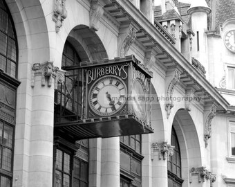 Burberry's clock black and white photograph