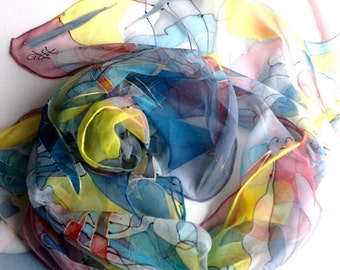 "Hand painted silk scarf "" Game of summer colors .Multi-colored ,blurred illuminated."
