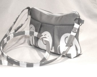 Small Gray Zippered Elephant Bag with Adjustable Strap