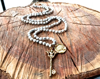 Long Howlite Necklace Hand Knotted with Gold Vermeil Key and Tree of Life Pendant