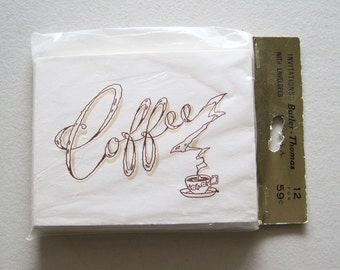Vintage Butler-Thomas Coffee Party Invitations Set of 12 Cards Old New Stock NIP Envelopes