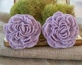 Large Bridal Plugs, Prom Plugs, Flower Plugs, Purple, Peonies