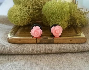 Flower Plugs, Wedding Gauges, Clear Shiny Coral, Salmon Pink, Roses