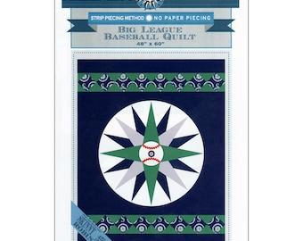 "Mariner's Compass Baseball Quilt Patterns ~ 2 patterns in 1 ~  Diamond Baseball Quilt 45"" x 68"" or Big League Baseball Quilt 48"" x 60"""