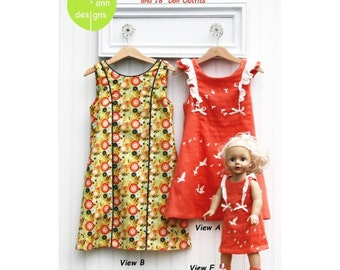 Skipper Dresses, Tunic and Leggings plus Matching Doll Dress ~ Multi-sized Sewing Pattern for Girls ~  Sizes 2-8 ~ olive ann designs OAD98