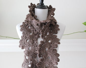 Crocheted Taupe Neckwarmer, Scarf