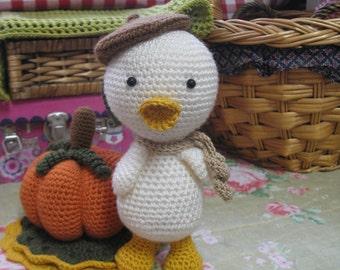 Autumn decor  Lovely crochet duck with pumpkin