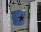 Small pail- star design, painted bucket, Americana, painted pail, rustic, storage container, galvanized metal pail, gift card holder,