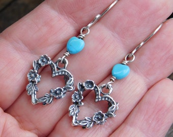 Sterling Silver Floral Heart and Turquoise Dangle Earrings
