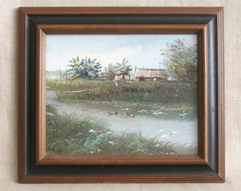 Landscape Painting, Painting, Landscape, River, Water, Small Landscape, Framed Paintings, Fine Art, Original Art, Art, Handmade, Paintings