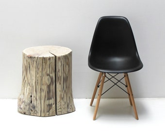 SALE ~ Stump Side Table Linen Light Glaze