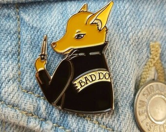 Bad Booboo chihuahua enamel pin -Bad Dog Biter Gang!