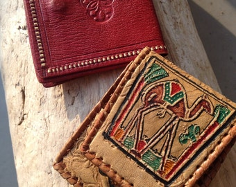 Leather coin wallet-wallet-camel-red leather wallet-small wallet-rectangle wallet-hand made leather wallet-leather-purse wallet-Vintage Euro