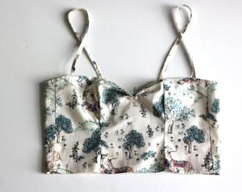 Woodland print crop top / Deer print magical forest Bustier / Printed cotton summer top