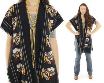 Vintage 70's Ethnic Poncho Black Knit Cape Shawl Stole Fringe Blanket Coat 1970s Womens Bohemian Fashion
