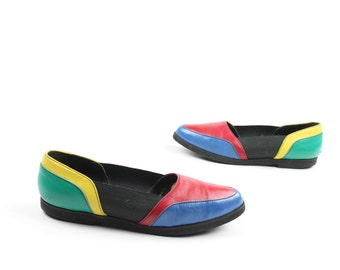 Vintage 80s Flats Color Block Leather Slip On Shoes Nina 1980s Size 8 Multicolored Red Blue Yellow Green