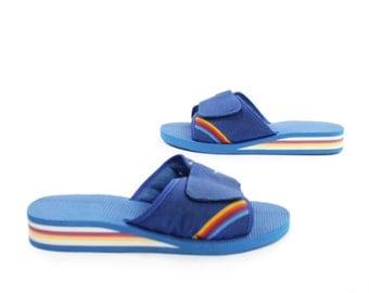 Vintage 80s Sandals Slides Flip Flops NOS Blue Rainbow Women's Shoes Size 6.5 1980s Beach Pool Fashion