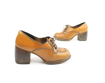 Vintage 60s Oxford Shoes Leather Lace Up Chunky Stacked Heels Mod 1960s Womens Size 5.5