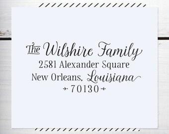 Custom Address Stamp, Return Address Stamp, Wedding address stamp, Calligraphy Address Stamp, Self inking or Eco Mount stamp  - Wilshire