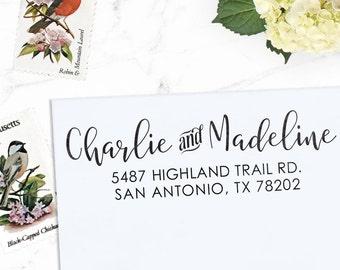 Custom Address Stamp, Return Address Stamp, Wedding address stamp, Calligraphy Address Stamp, Self inking or Eco Mount stamp  - Madeline
