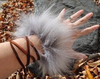 Mountain Wolf Spirit - Real Timber Wolf Fur Leather Bracelet Wrap