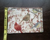"Winter Birds - 7"" Zippered Pouch - Lined - Berries - Branches"