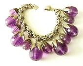50% OFF Napier 1950s Charm Bracelet  Purple Lucite Charms Silver Tone Chain