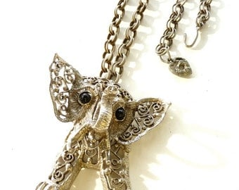 Verified Juliana Elephant Pendant Necklace in Silver Tone Filigree with 24 Inch Chain Black Stones Book Piece