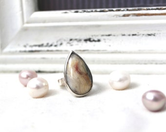 Sterling silver Ring with Lace Agate - READY TO SHIP - size 8 handmade jewelry 925 gemstone