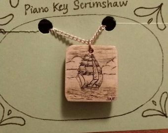 Scrimshaw Necklace Tall Ship OOAK Great Gift Idea