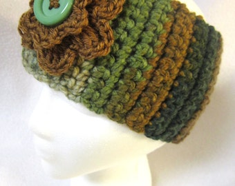 Green and Brown Headwarmer, Thick Crocheted Ear Warmer, Winter Wear, Flowered Headband by Charlene