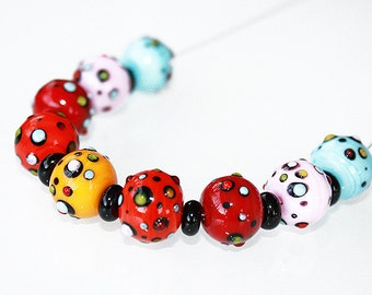 Lampwork beads set - Dots - Glass beads supplies.