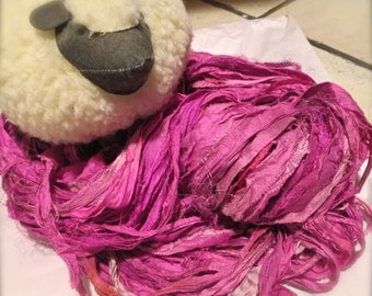 Pretty In Pinks Recycled Sari Silk Thin Ribbon Yarn 5 - 65 Yards For Jewelry Weaving Spinning & Mixed Media