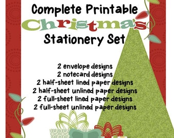 Cheerful Printable Christmas Stationery Set, Printable Christmas Cards, Instant Download