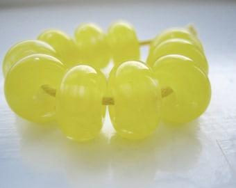 Mimosa Yellow Lampwork Spacer Beads, SRA, UK Seller, UK Lampwork