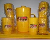 Vintage 1979 Rubbermaid Plastic Beverage Set Pitcher 6 Tumblers And Handled Tray Unused
