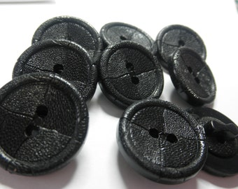 9 Plastic BLACK  Buttons- 1  inch -  BASKETWEAVE- Great  for Knitting Projects -Purse Closure Embellishment