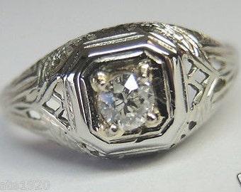 Antique Art Deco Diamond White Gold Engagement Ring | RE: 443