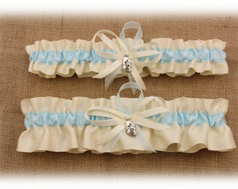 Ivory and Light Blue Wedding Garter Set with I Do Charms