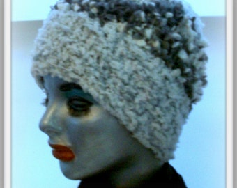 HANDKNIT HAT WOMAN  Hand knitted womans winter hat Slouchy Gray and White Speckled Nubby Girls Teens  Headcover  Gift  Sisters Mom