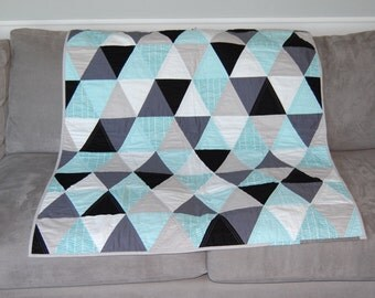 Pool Blue Herringbone, White, Gray, Black Triangle Baby / Toddler Quilt