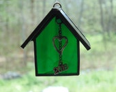 Stained glass house ornament, 2016 Christmas, first house, suncatcher ornament, new home owner gift, house warming gift, year ornament