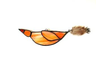 Stained glass suncatcher, orange bird lover gift under 25, ooak bird art, window decoration, hanging bird, summer bird ornament