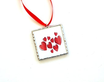 Mini hearts ornament, Valentines day gift for her, mini wall art, red hearts, stained glass heart art, home decor, handmade keepsake