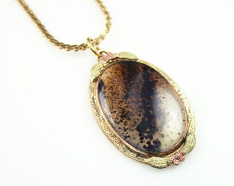 Moss Agate, Pendant Necklace, Gold Filled, Rose Gold, Conley Co, Vintage Jewelry