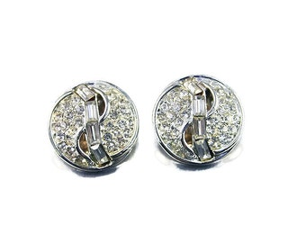 Kramer Earrings, Rhinestone Baguette, Diamante Crystal Style, Silver Tone, Sparkly Bling, Vintage Jewelry