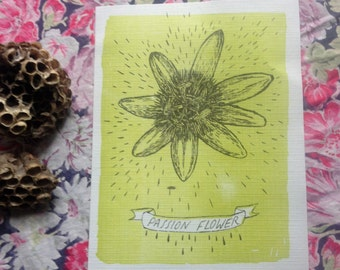 Handprinted Passion Flower Tiny Print